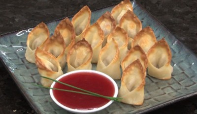 BAKED CHICKEN WONTONS WITH RASPBERRY SZECHUAN SAUCE