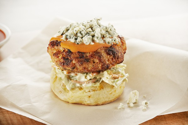 BUFFALO CHICKEN BURGERS WITH BLUE CHEESE SLAW