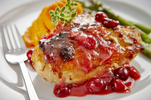 APRICOT GLAZED CHICKEN WITH CRANBERRIES
