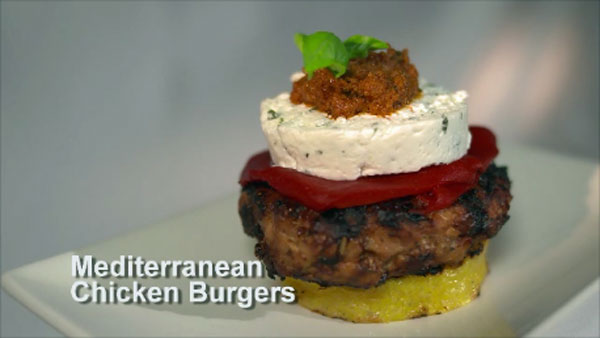MEDITERRANEAN BURGERS ON GRILLED POLENTA