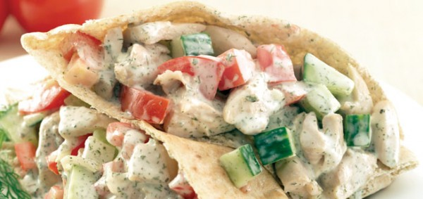 GREEK CHICKEN PITAS
