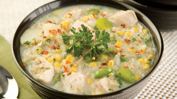 QUINOA CORN AND CHICKEN CHOWDER