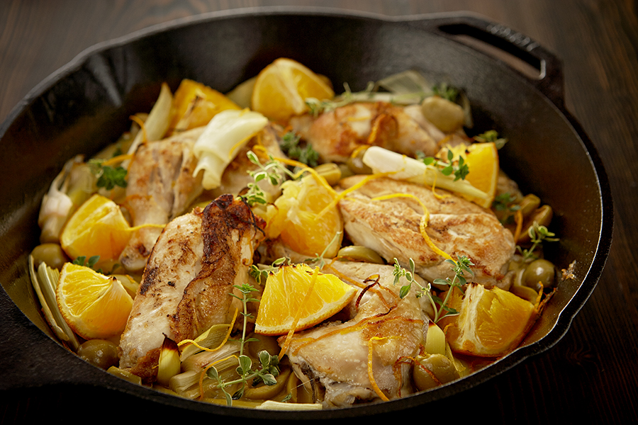 BRAISED CHICKEN WITH ORANGES & LEEKS