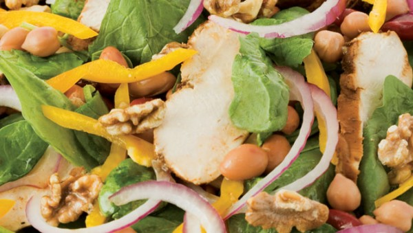 WARM GRILLED CHICKEN SPINACH AND BEAN SALAD