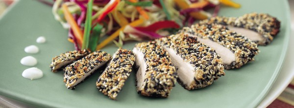 SESAME CRUSTED CHICKEN WITH WASABI CREAM