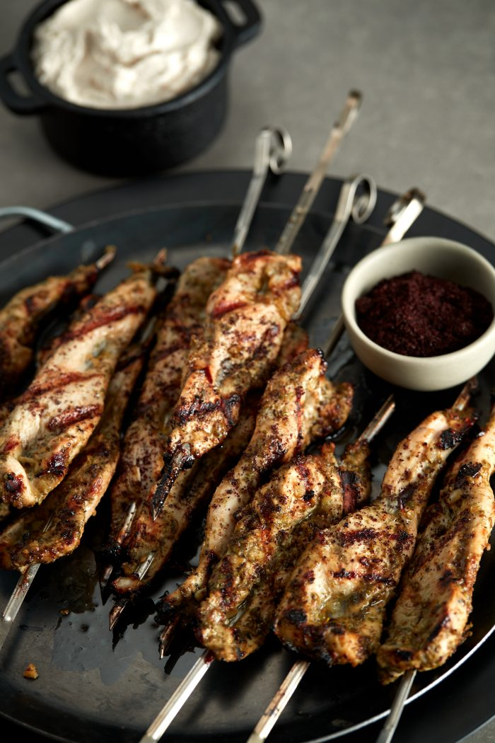 ZA'ATAR CHICKEN SKEWERS WITH TAHINI SUMAC DIPPING SAUCE
