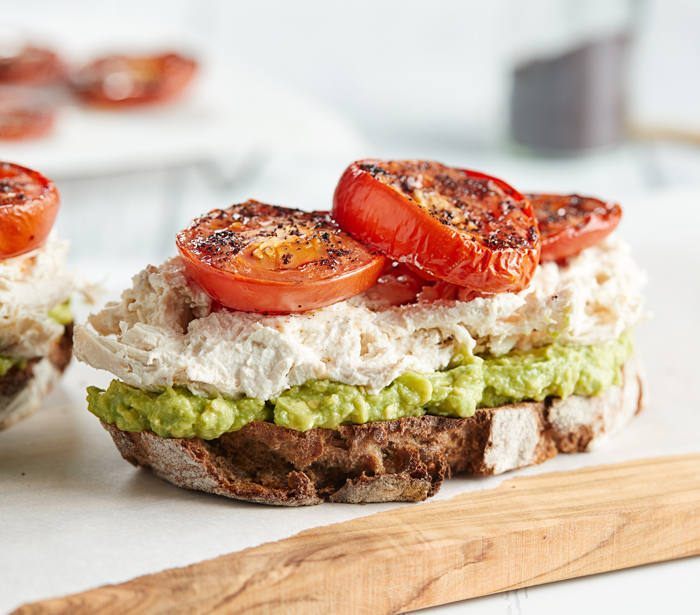 CHICKEN TOASTS WITH AVOCADO & TOMATO