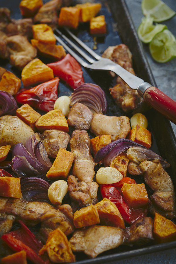 SHEET PAN CHICKEN & SWEET POTATOES WITH WARM SPICE