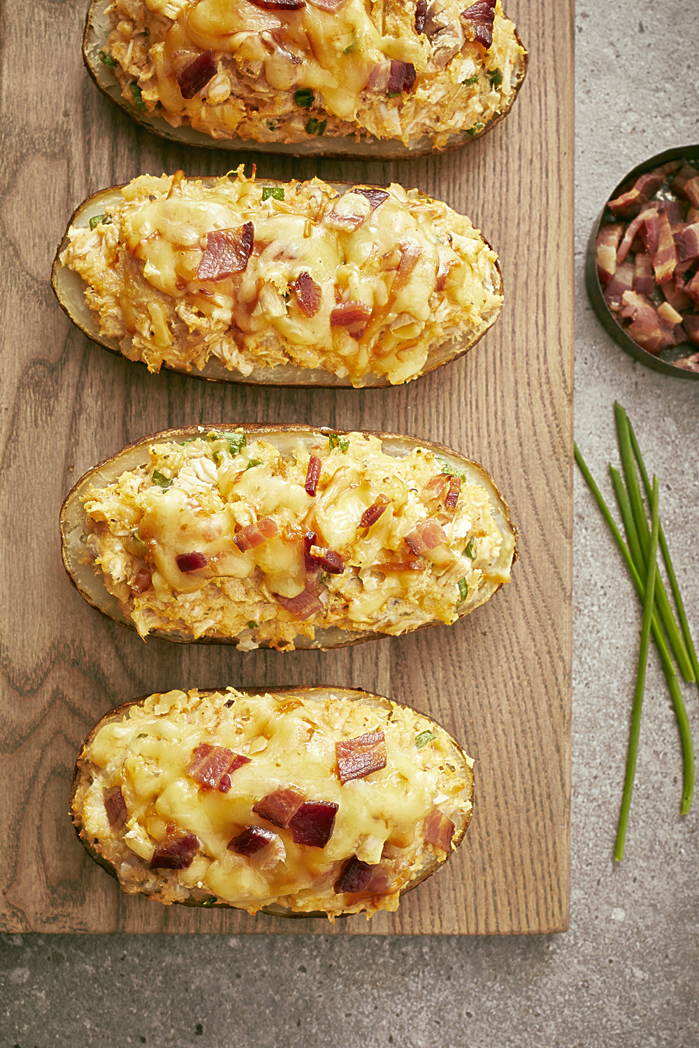 CHICKEN & SMOKEY CHEDDAR STUFFED POTATOES
